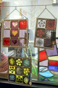 Abstract stained glass panels - Cariad Glass