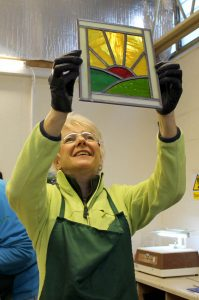 Student with satined glass panel - Cariad Glass