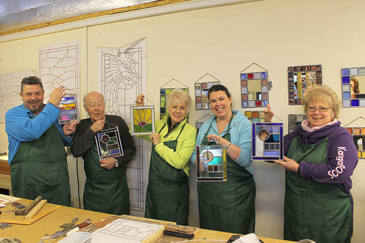 Happy students - Stained Glass workshop - Cariad Glass - Wales
